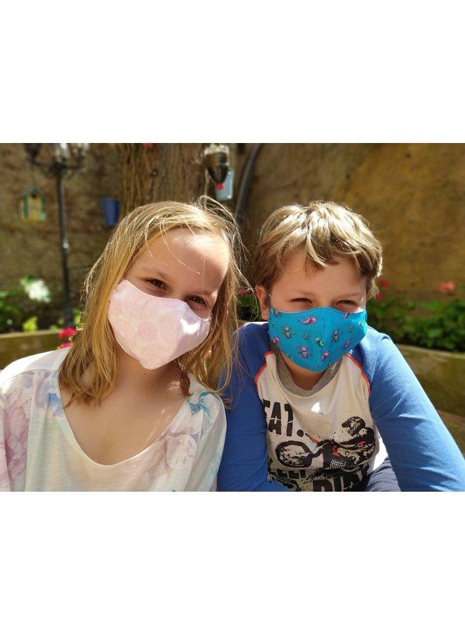 Herbruikbaar mondkapje met filter |Aqua Dragons| kinderen & volwassenen