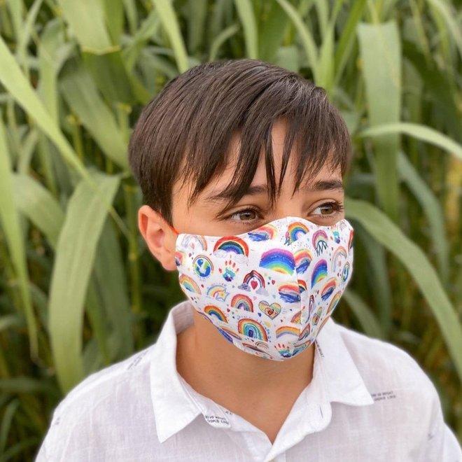 Wasbaar mondkapje met filter | Regenboog
