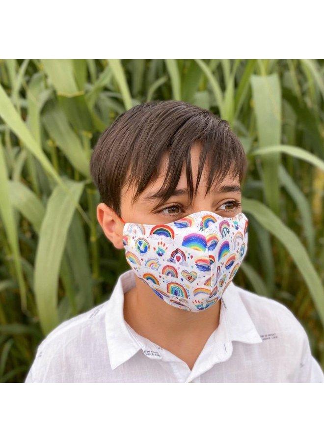 Herbruikbaar mondkapje met filter |Regenboog| kinderen & volwassenen