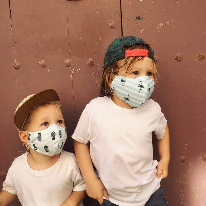 Wasbaar mondkapje met antibacterieel filter | Flamingo| kinderen & Volwassenen