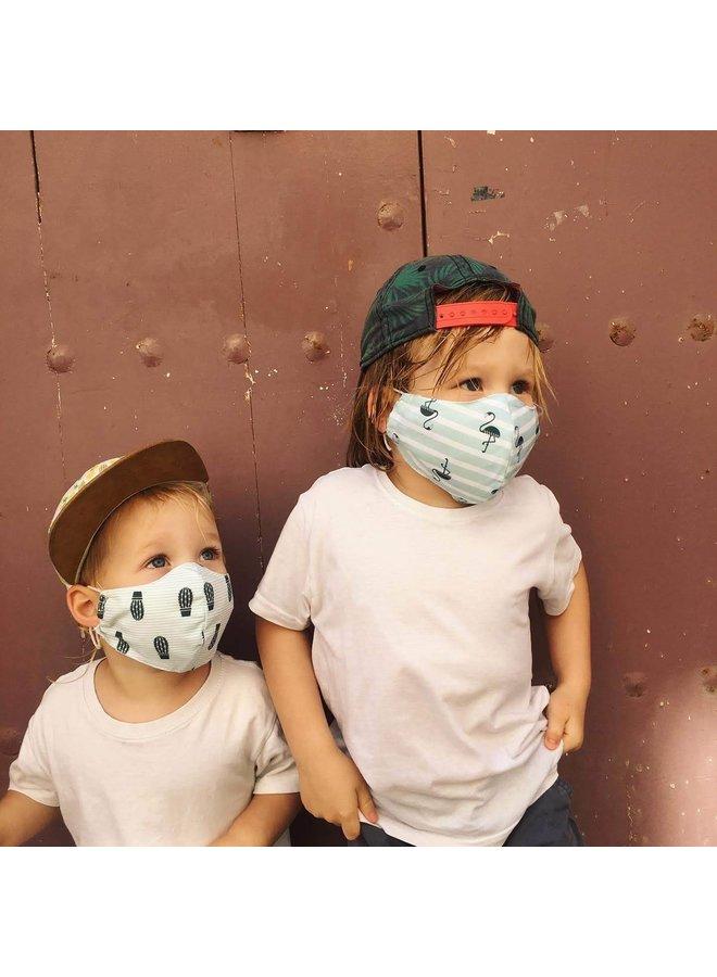 Herbruikbaar mondkapje met filter | Flamingo| kinderen & Volwassenen