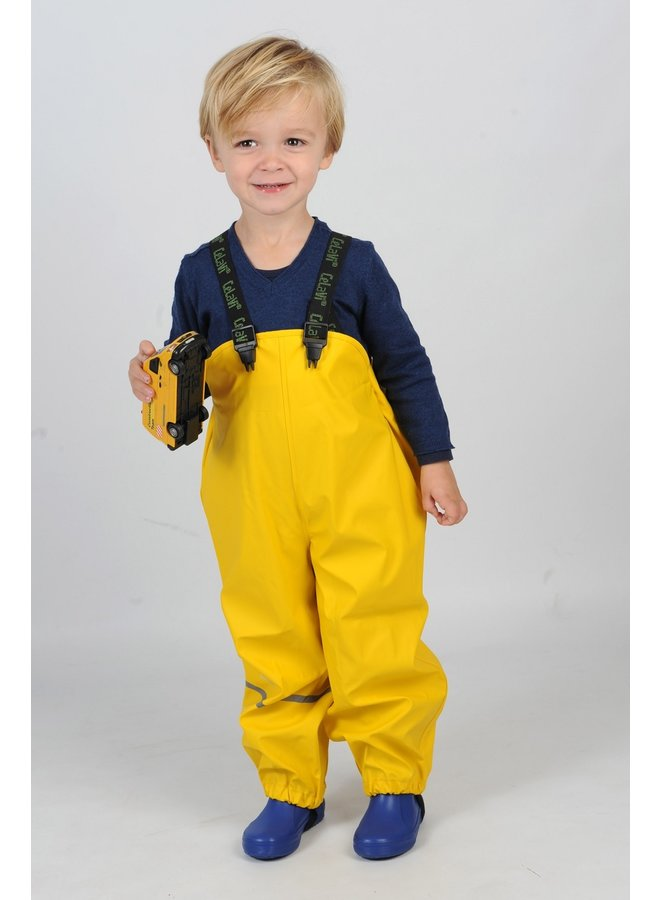 Sustainable children's rain pants yellow | braces | 110-130