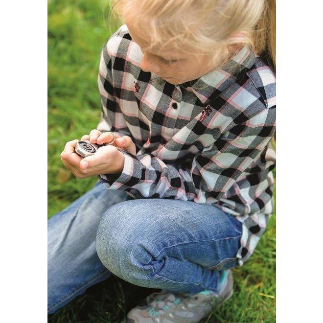 Metalen zakkompas voor kinderen aan sleutelring