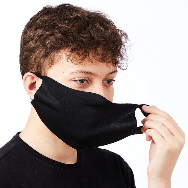 Zwarte stretch mondkapjes 2 stuks | wasbaar
