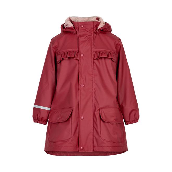 Fleece lined raincoat | red