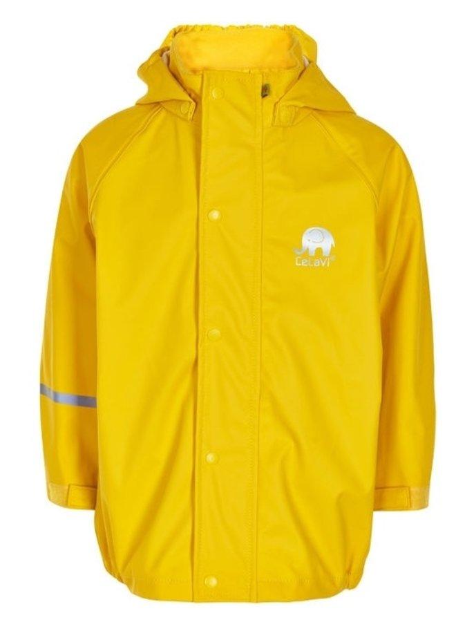 Waterproof raincoat with hood in yellow