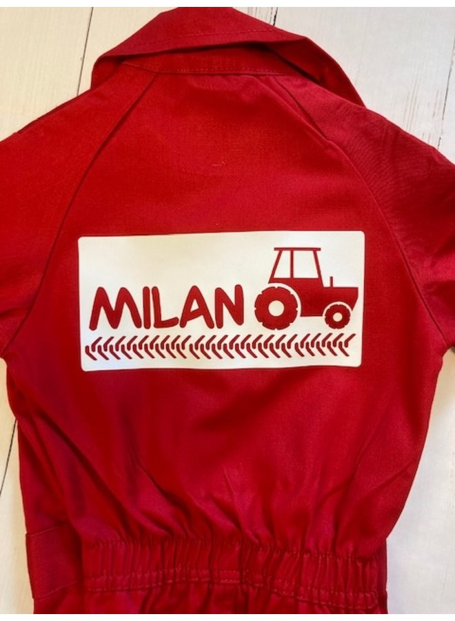 Printed overalls with Tractor Tracks and name