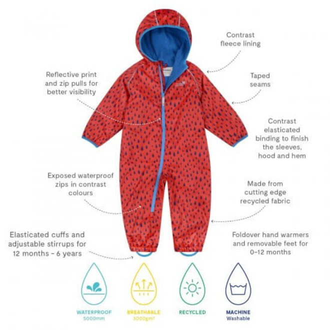 Duurzaam regenpak ECOSPLASH,  Raindrop  Rood/blauw