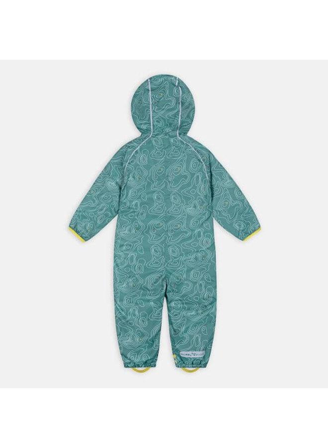Sustainable rain suit ECOSPLASH | Teal Topo
