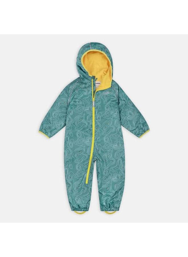 EcoSplash lined rain suit | Teal Topo