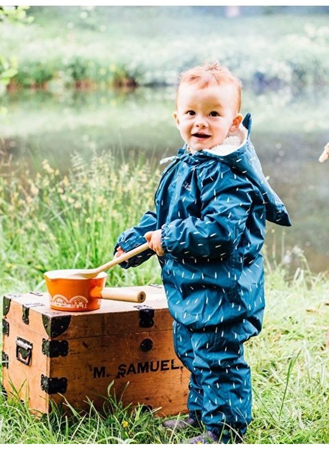 3-in-1 Buitenpak voor kleine ravotters | 0-6 jaar | Teal raindrop