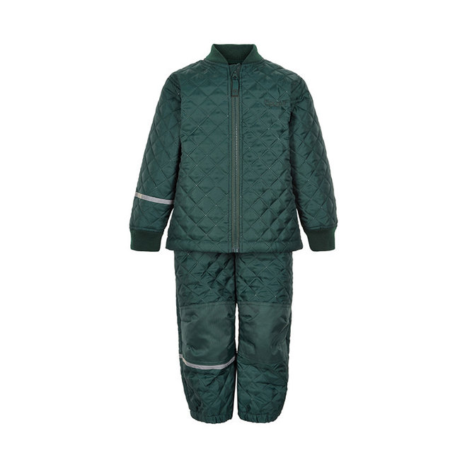 Thermo set of trousers and jacket, quilted dark green