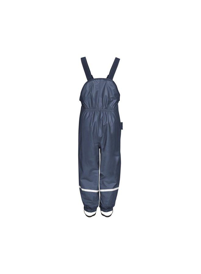 Fleece gevoerde regenbroek bretels  blauw   maat 74 - 104