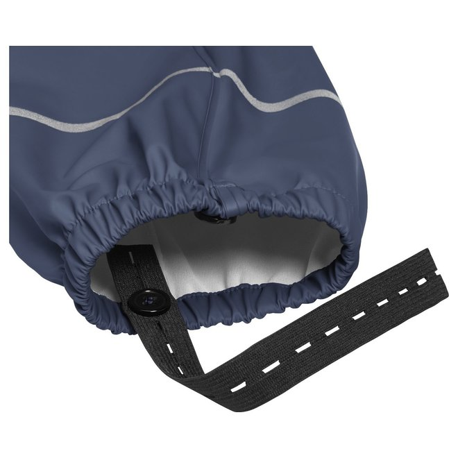 Fleece gevoerde kinderregenbroek bretels| blauw | maat 74 - 104