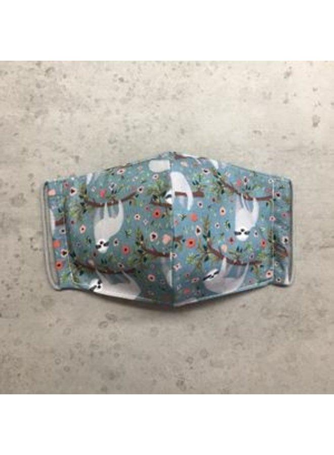 Herbruikbaar mondkapje met filter |Perezoso Teal| kinderen & volwassenen