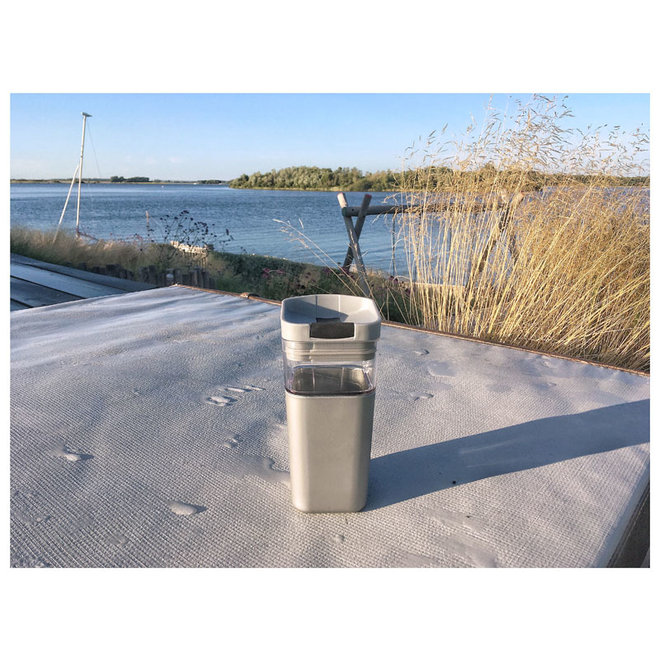 Kafé In The Box   silver-gray coffee cup for on the road 355ml