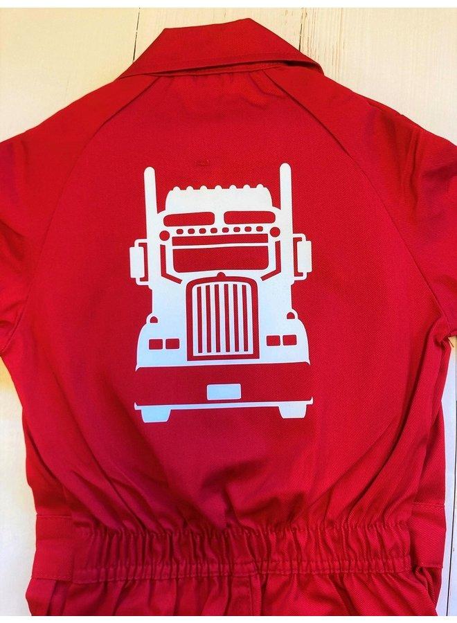 Kinderoverall bedrukt met een vrachtwagen | truck
