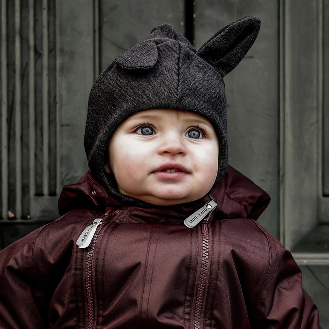 Kinder bivakmuts van wol mix met oortjes