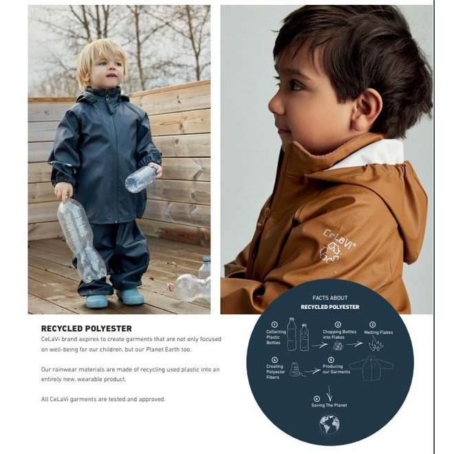Rainsuit for children: pants and jacket made from recycled material