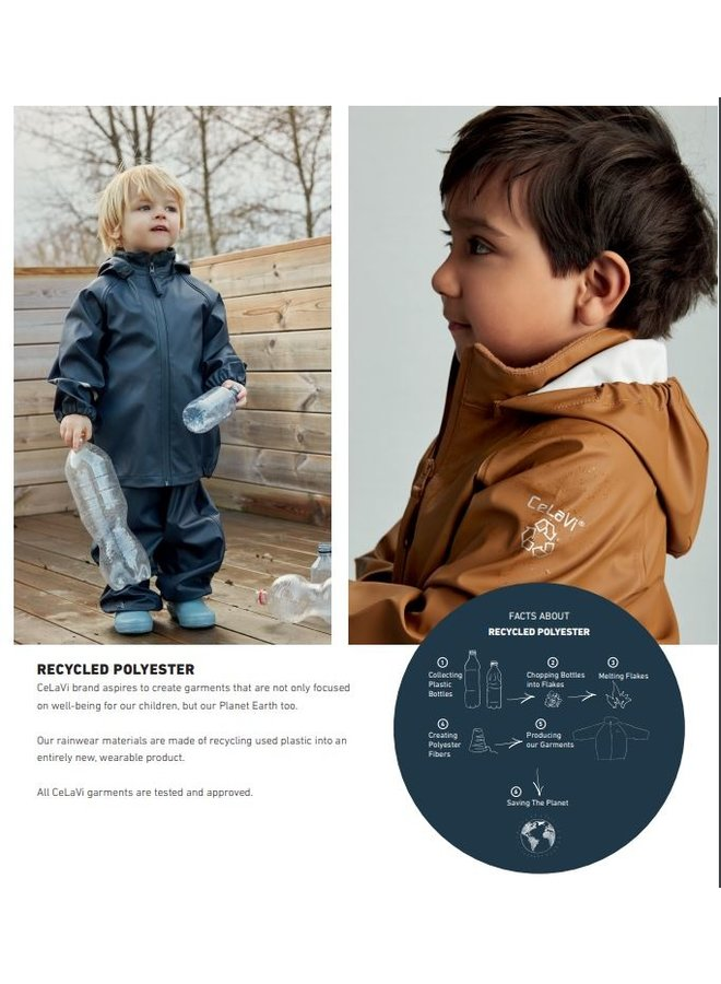 Brown children's rain suit   recycled material   Smoke Blue