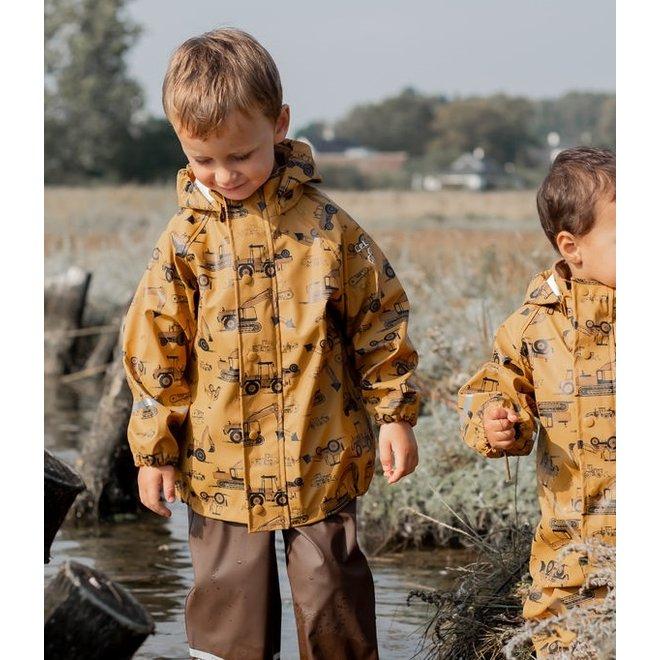 ♻️ Children's raincoat with tractors and Excavators   roadworks
