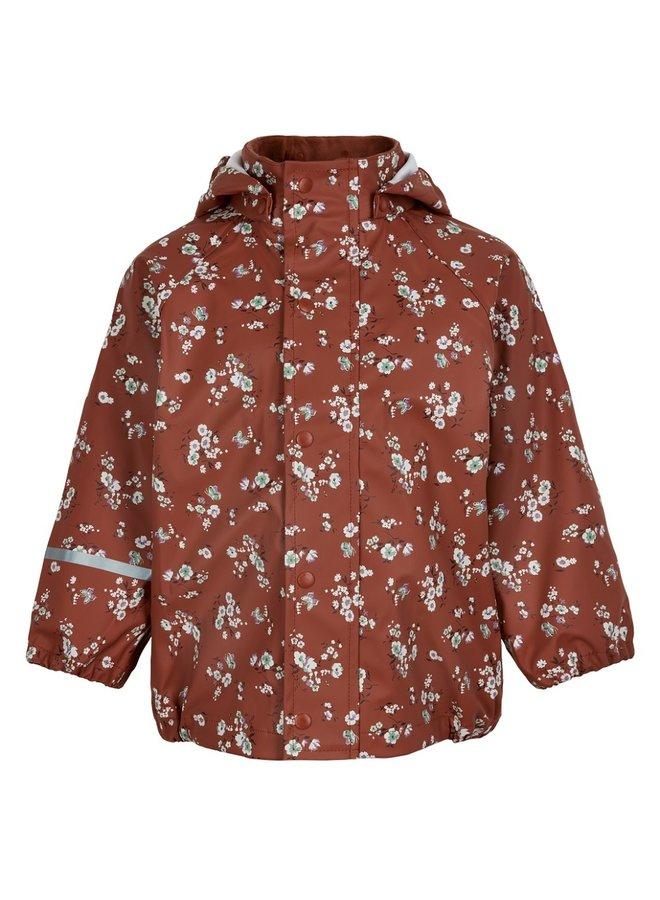 Regenjas bloemenprint | Redwood |  maat 70-140