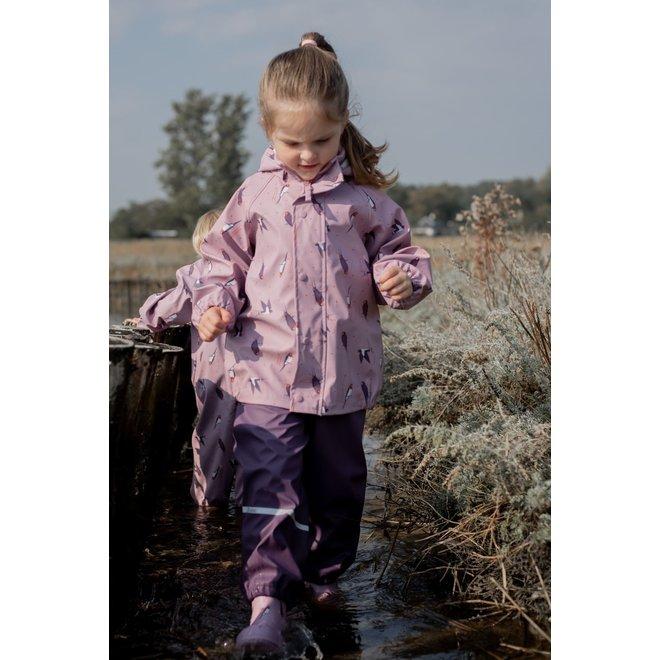 Children's raincoat with bird print | Mauve Shadow