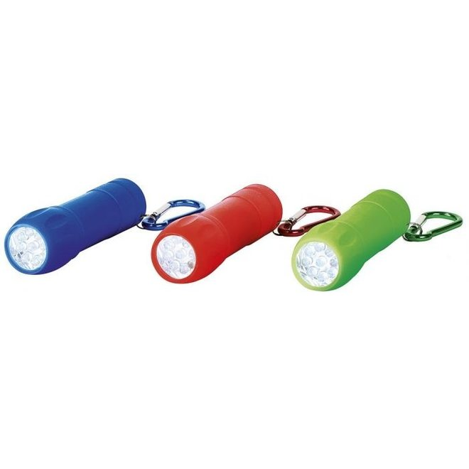 Flashlight with carabiner in various colors