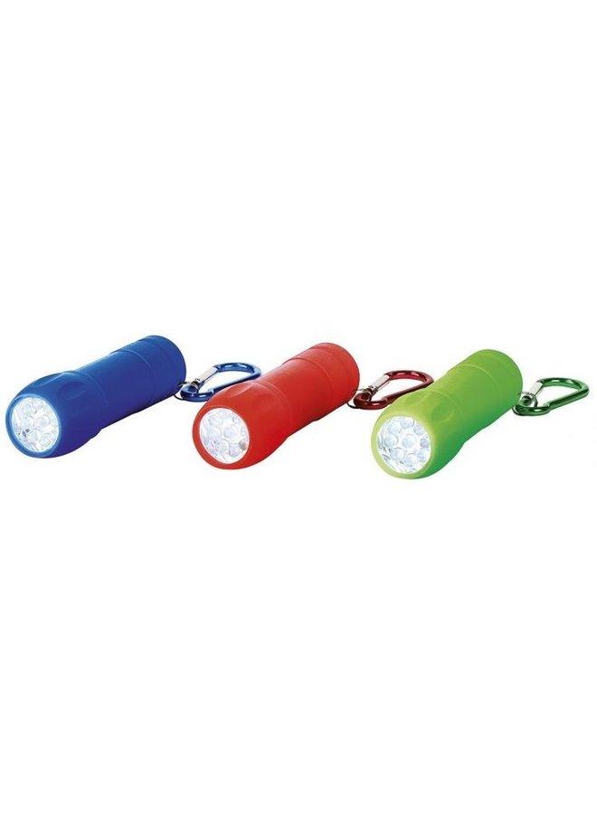 Zaklamp met karabijnhaak diverse kleuren