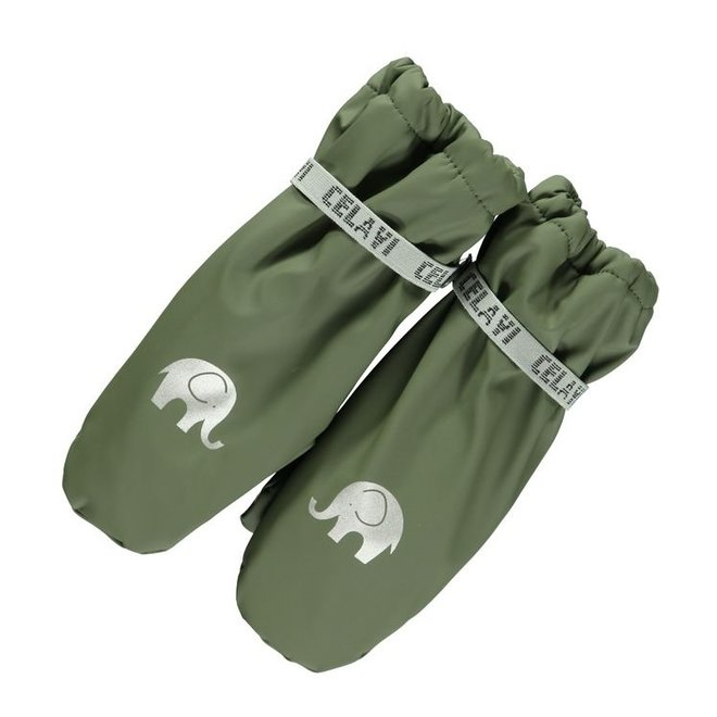 Fleece lined PU mittens | 0-6 years | Army green