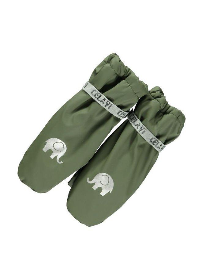 Fleece gevoerde PU wanten | 0-6 jaar| Leger groen