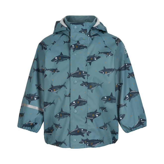 ♻️ Sustainable raincoat with shark print | Smoke Blue