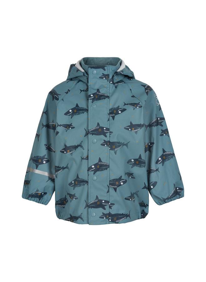 Duurzame regenjas met haaien print | Smoke Blue