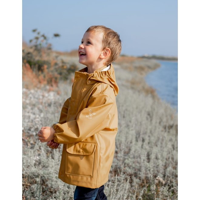 ♻️ Kinderregenjas   okergeel   recycled polyester