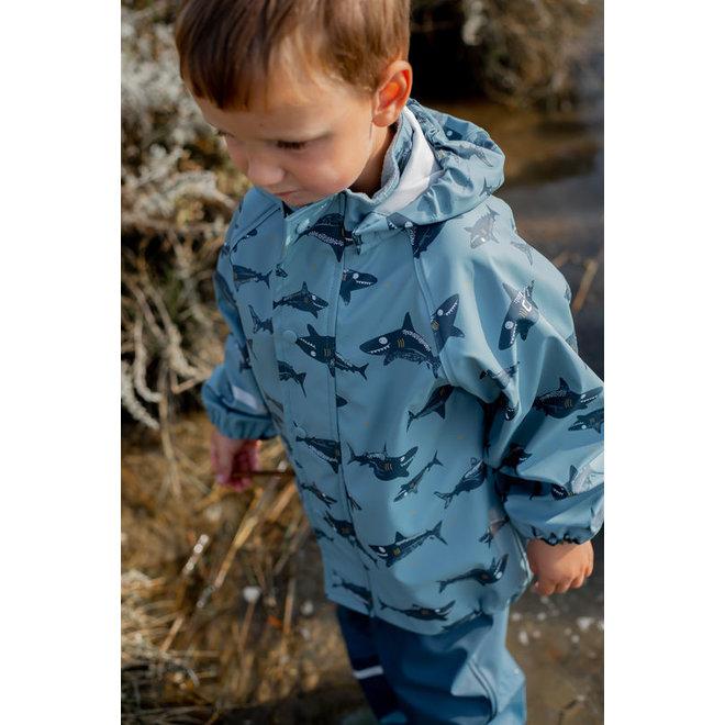 ♻️ Raincoat shark print | Smoke Blue | size 70-110