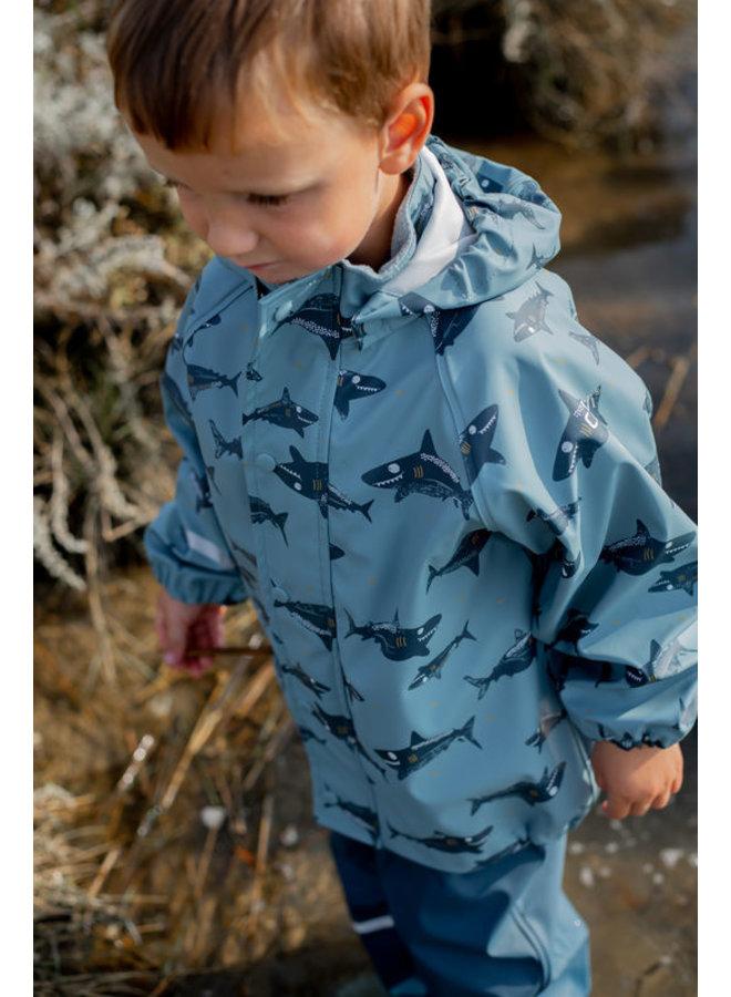 Regenjas haaien print | Smoke Blue |  maat 70-110