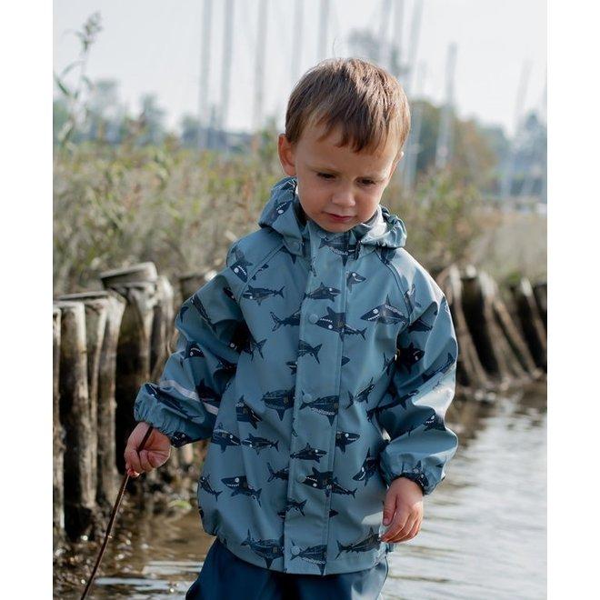 Durable raincoat with shark print   Smoke Blue