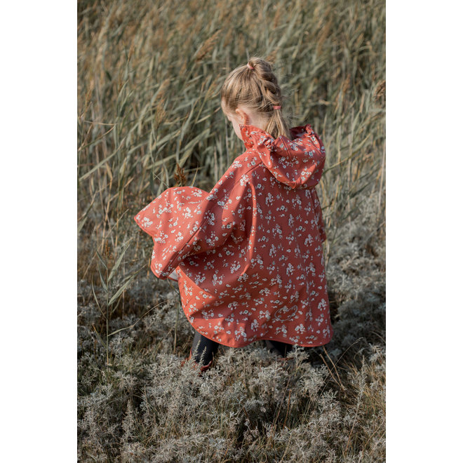 ♻️ Duurzame regencape met bloempatroon | Redwood