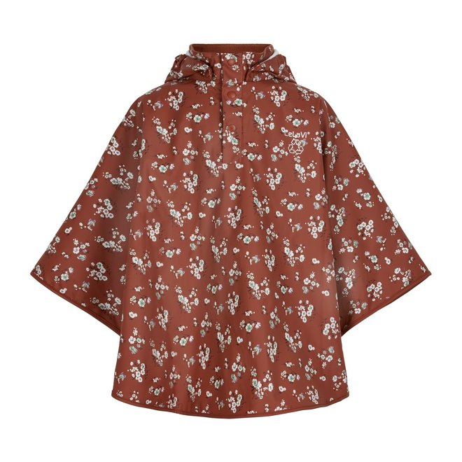 Durable rain cape with flower pattern   Redwood
