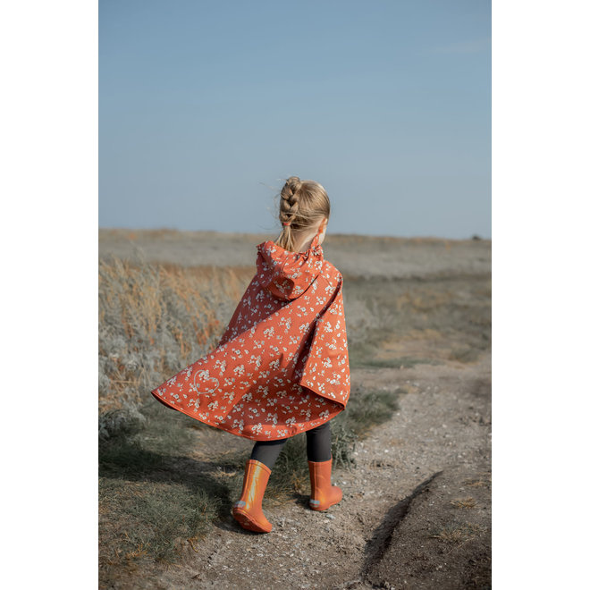 ♻️ Sustainable rain cape with flower pattern | redwood