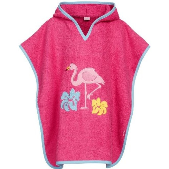 Hooded towel, beach poncho - Flamingo