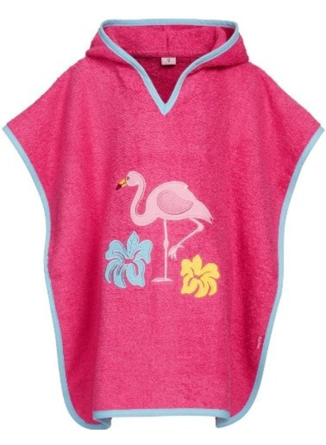Badcape, strand poncho met capuchon - Flamingo