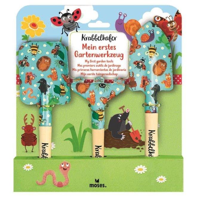 Three-piece set of garden tools for children