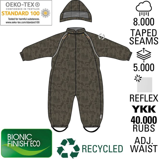 ♻️ Baby Rain and Ski Suit   Tarmac Forest