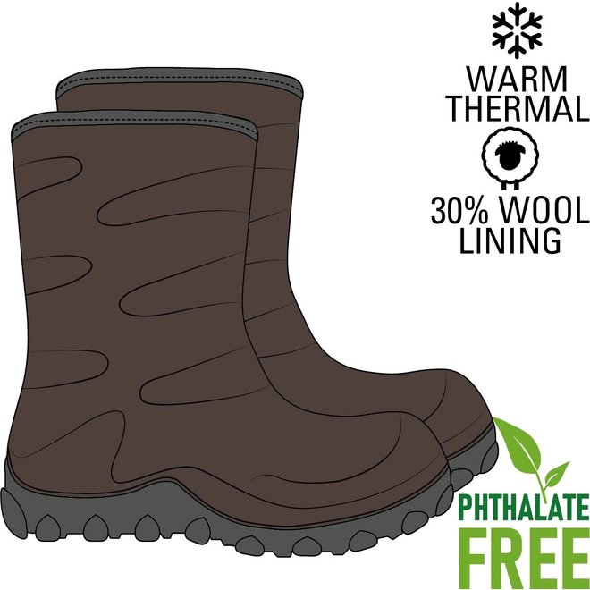 Thermo children's boots | rubber | wool lining | Brown