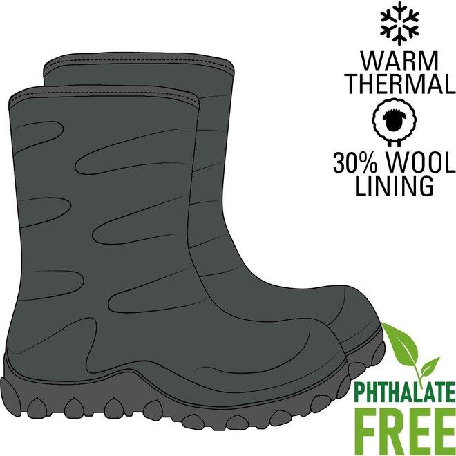 Thermo kinderlaarzen   rubber  wollen voering   groen