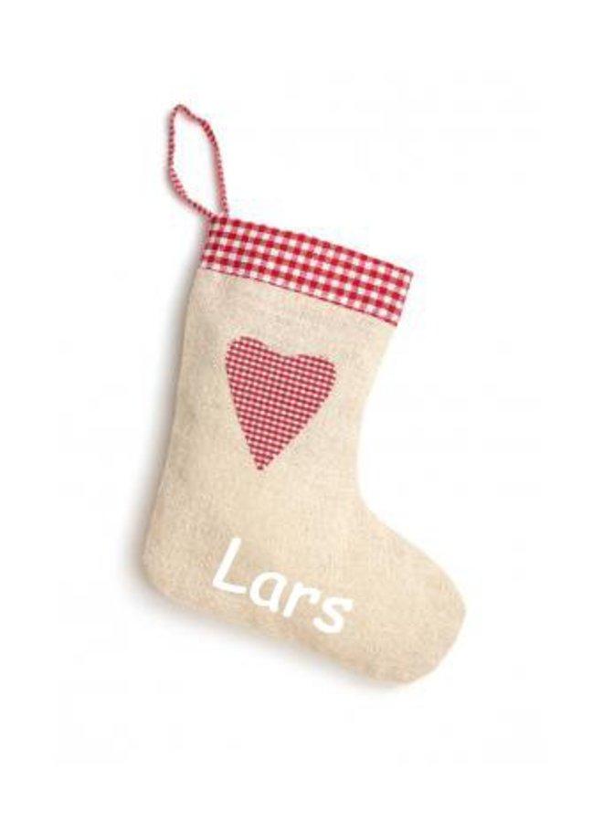 Linnen, jute-look kerstsok met hart en naam