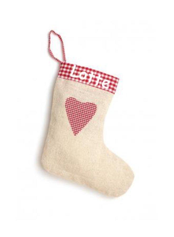 Bedrukte kerstsok in linnen, jute-look jute met hartje