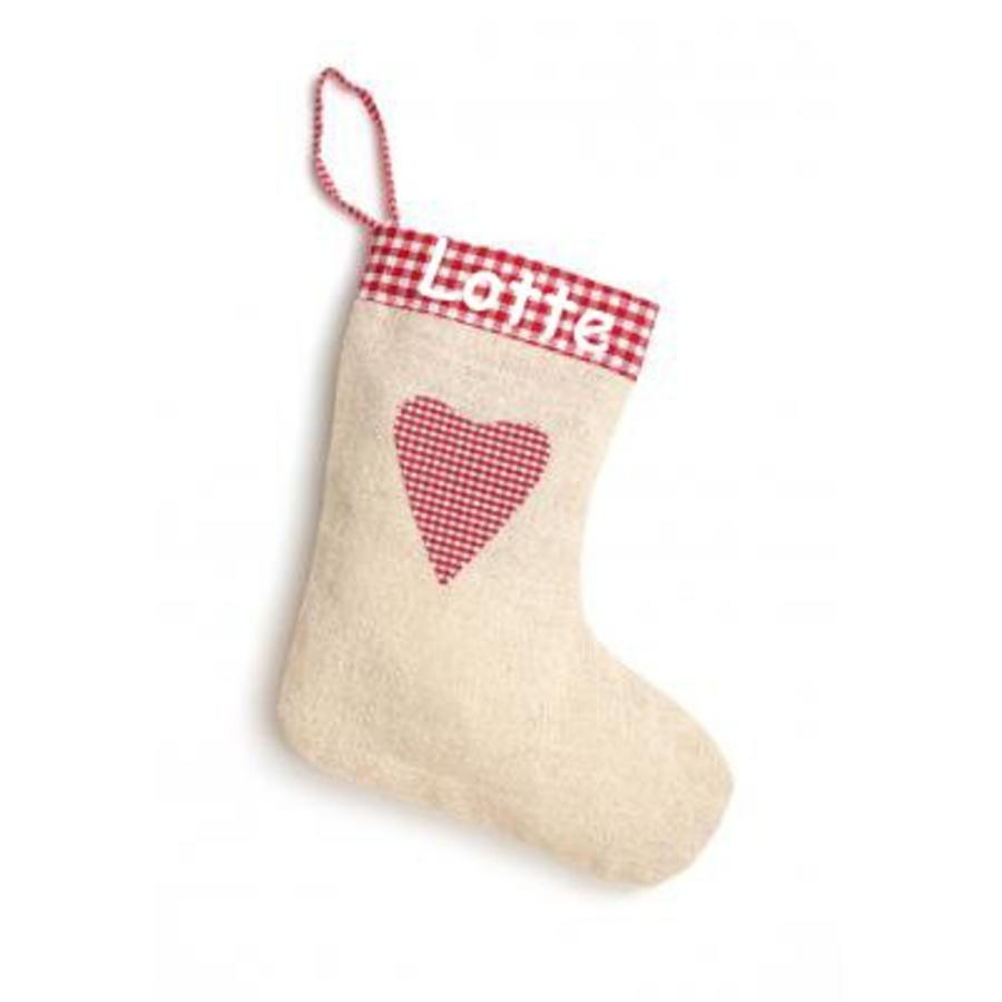 Bedrukte kerstsok in linnen, jute-look jute met hartje-2