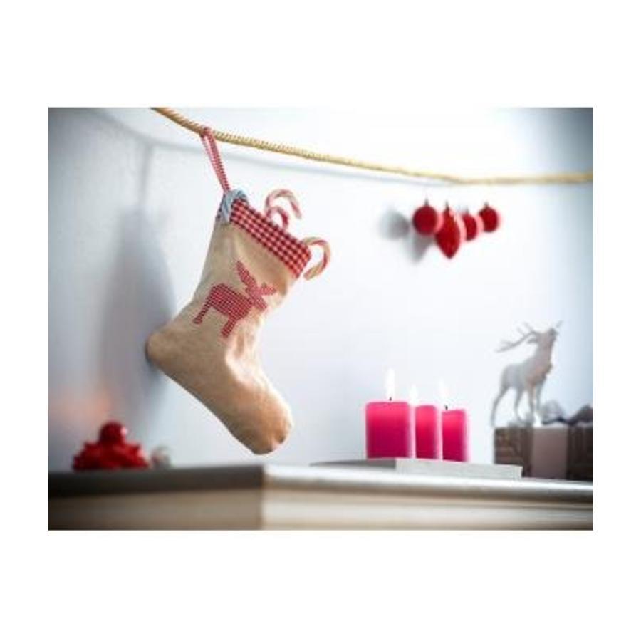 Bedrukte kerstsok in linnen, jute-look jute met hartje-5